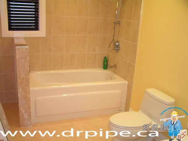 Installing bathtub and toilet in a main bathtub
